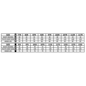 Parvotex Coverall Size Chart